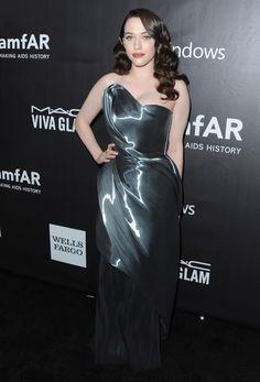 Kat Dennings at The amfAR LA Inspiration Gala // wearing Rubin Singer hand draped liquid nylon strapless evening gown, oo la la.