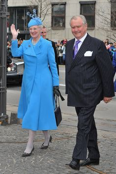 Queen Margrethe II of Denmark (L) and Prince Henrik of Denmark (R) arrive to attend the christening of their twin grandchildren at Holmens Kirke on April 14, 2011 in Copenhagen, Denmark. (April 13, 2011 - Source: Pascal Le Segretain/Getty Images Europe)