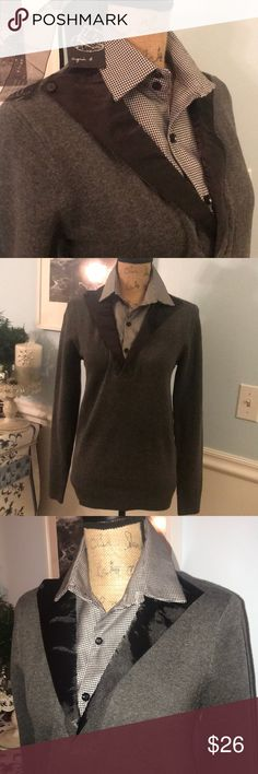 Gorgeous brand new w/ tags 2n1 top Black and gray Gorgeous brand new w/ tags 2n1 top Black and gray. Made in Paris, very Sister and stylish. 🖤 agnis homme paris Sweaters V-Necks
