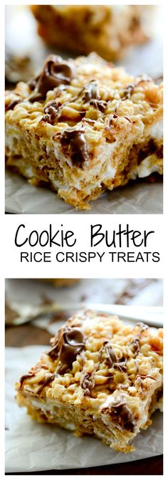 Lower Excess Fat Rooster Recipes That Basically Prime Cookie Butter Rice Crispy Treats - Recipe Diaries Chocolate Rice Crispy Treats, Crispy Treats Recipe, Butter Cookies Recipe, Rice Krispie Treats, Yummy Treats, Cookie Butter, Rice Crispy Bars, Rice Cookies, Chocolate Chips