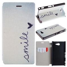 Smile+Pattern+PU+Leather+Full+Body+Case+with+Card+for+Sony+Xperia+M2+S50h+–+USD+$+7.99