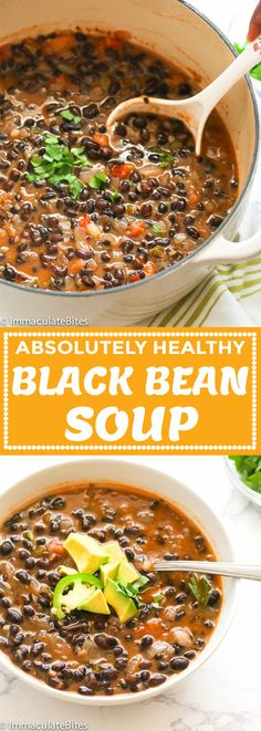 Black Bean Soup You are in the right place about soup recipes low carb Here we offer you the most beautiful pictures about the paleo soup recipes you are looking for. When you examine the Black Bean Soup part of the picture you … Healthy Diet Recipes, Vegetarian Recipes, Cooking Recipes, Vegetarian Black Bean Soup, Cooking Corn, Healthy Snacks, Vegan Bean Soup, Vegan Black Bean Recipes, Cooking Tips