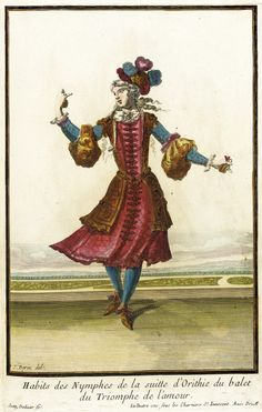 Madame de Pompadour (Illustration of theatrical costumes worn by...)