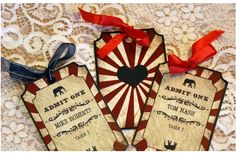 Vintage Carnival Ticket Style Seating Cards by VintageWeddingPress Carnaval Vintage, Vintage Carnival, Vintage Circus, Carnival Tickets, Carnival Themes, Style Salon, Seating Plan Wedding, Seating Plans, Wedding Stationery Sets