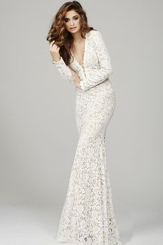Jovani 33096 long sleeve lace gown with plunging v-neckline.