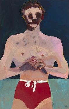 "Peter Doig Red Man"", 2017 Oil on paper on vellum and board 46 x 29 1/4 inches 117 x 74 cm"