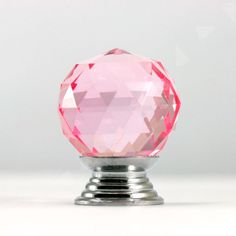 6PCS Crystal Glass PINK Door Knobs Pull 30mm Drawer Cabinet Kitchen Handle B64   eBay