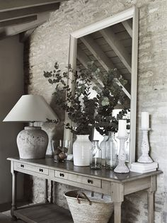 How to: Mirrors in the home Country house entrance with exposed brick, a large wooden side table and framed mirror Hallway Lamp, Hallway Table Decor, Hallway Decorating, Entryway Decor, Room Decor, Entrance Hall Decor, House Entrance, Interior Design Blogs, Style At Home
