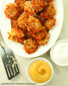 potato-pancakes-latkes-final.jpg - from the MOM 100 Cookbook © 2012 Katie Workman. Photo by Todd Coleman