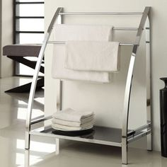 Chrome Finish Towel Bathroom Rack Stand Glass Shelf   Overstock.com Shopping - Big Discounts on Bath Fixtures