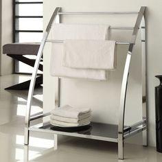 Chrome Finish Towel Bathroom Rack Stand Glass Shelf | Overstock.com Shopping - Big Discounts on Bath Fixtures