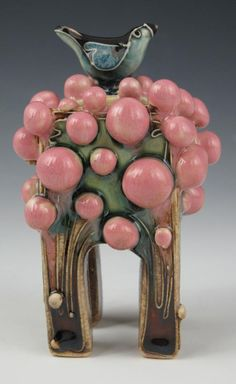 """""""Long Bird in a Gumball Tree Box"""" 4"""" x 2.5"""" Carol Long Pottery will be at the Outdoor Living Show in Wichita, Kansas. March 1, 2, 3"""