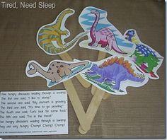 great dinosaur activities for preschool for dinosaur week Dinosaur Poem, Dinosaur Puppet, Dinosaur Theme Preschool, Preschool Songs, Cute Dinosaur, The Good Dinosaur, Preschool Themes, Preschool Lessons, Dinosaur Party