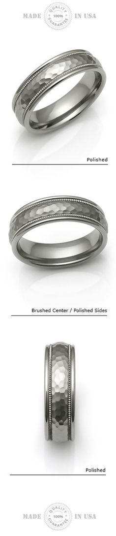 Bridal Wedding Bands Fancy Bands Titanium Black TI Hammered Ridged Edge 7mm Brushed Band Size 11.5