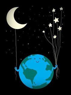Under the moon and stars by Carbine. Sueña con la luna y alcanzarás las… Art And Illustration, Illustrations, L Wallpaper, Pub Vintage, Under The Moon, Sun And Stars, Star Art, Moon Art, Cute Wallpapers