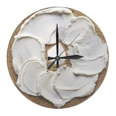 Bagel and Cream Cheese Novelty Round Wall Clocks