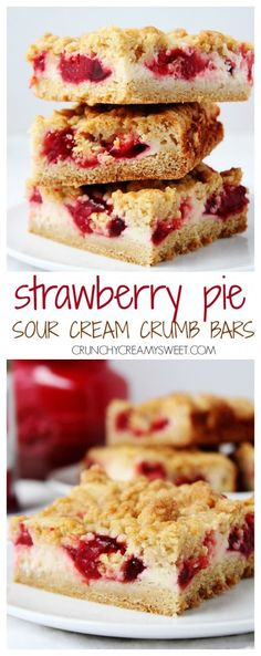 Strawberry Pie Sour Cream Crumb Bars - the easiest crumb bars you can make! So delicious! The pie filling is a great shortcut! crunchycreamysweet.com