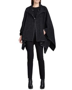Plush Cotton Dash Cape, Long-Sleeve Tee & Ponte Skinny Ankle Pants by Eileen Fisher at Neiman Marcus.