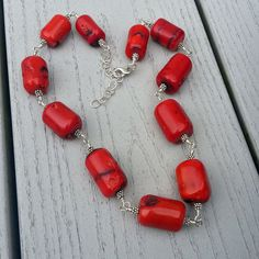 Chunky Coral and Sterling Silver Necklace One of by LeanneFDesigns