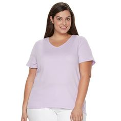 Plus Size Croft & Barrow® Essential V-Neck Tee, Women's, Size:
