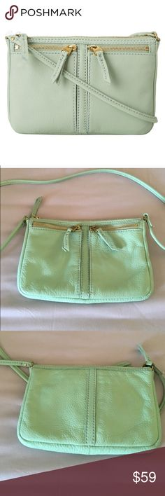 Fossil Erin Top Zip Mint Crossbody Beautiful mint colored bag (called Winter Green) perfect for carrying the essentials. Excellent used condition, no visible flaws. Stock picture shows true color, it doesn't look as neon in real life. Fossil Bags Crossbody Bags