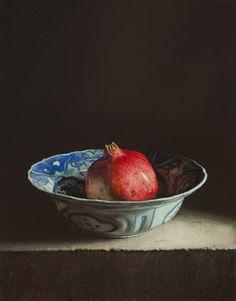 Erkin, Stilleven met granaatappel, 2014, olieverf op paneel, 25 x 32 cm