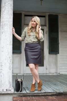 Olive Beaded Top | Leather Pencil Skirt | Pearls & Twirls Style Blog
