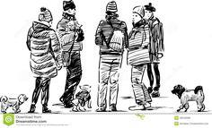 people-dogs-walk-vector-sketch-women-their-park-49540096.jpg (1300×793)