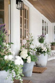 Beautiful summer flower pot and farmhouse porch design by Boxwood Avenue - Lavender topiary, hydrangea, and roses in vintage galvanized pots. garden design backyards The Best Ideas for Creating Stunning Summer Flower Pots - Boxwood Ave Veranda Design, Patio Design, Stunning Summer, Summer Flowers, Fall Flowers, Porch Decorating, Decorating Ideas, Backyard Landscaping, Boxwood Landscaping