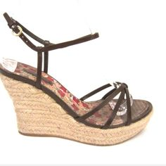 Authentic Louis Vuitton Strappy Espadrille Wedge Previously worn about 10 times. Priced to sell.. Louis Vuitton Shoes Espadrilles