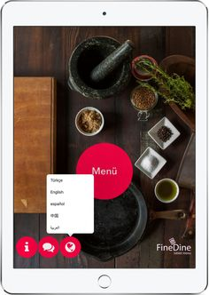Cafes, bars and restaurants can increase their customer base by offering digital menu to tourists in multi-languages. Tablet Menus offer many languages. Digital Menu, Menu Restaurant, Ipad