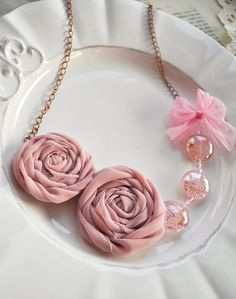 Vintage Romance Necklace  shabby chic  rose by TextileArtBoutique, $35.00