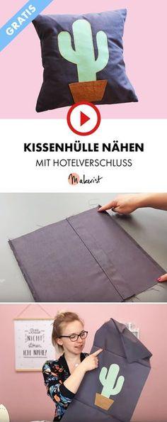 Kissenbezug mit Hotelverschluss nähen - Makerist auf Youtube #nähen #nähanleitung #kissen #kissenbezug #video #tutorial #pillow #pillowcase #kaktuc #cactus