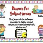 This is a set of 4 different banners that you can use to display student work, or to put in centers/stations.   It includes Writing, Reading, Math ...