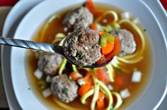 This recipe gave me yet another reason to use my spiral slicer. Who knew that making noodles out of vegetables could be so fun? The great thing about this soup is that you can just Slow Cooker Recipes, Paleo Recipes, Low Carb Recipes, Crockpot Recipes, Soup Recipes, Zoodle Recipes, Atkins Recipes, Crockpot Dishes, Delicious Recipes