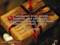 """""""A szavak nem érnek semmit, Elszállnak, mint az őszi szél, De a szeretet, ha tiszta szívből fakad, Elkíséri az embert, amíg él."""" József Attila Event Ticket, Life Quotes, Quotation, Attila, Quote Life, Quotes About Life, Life Lesson Quotes, Quotes On Life"""