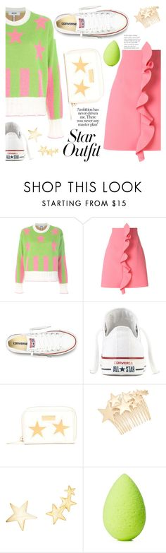 """Twinkle, Twinkle: Star Outfits"" by ewa-naukowicz-wojcik ❤ liked on Polyvore featuring MSGM, Converse, STELLA McCARTNEY, Kitsch, Kenneth Jay Lane, beautyblender and StarOutfits"