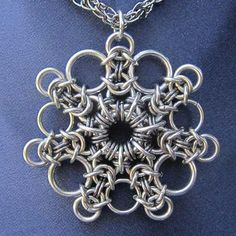 Dramatic Snowflake Chainmaille Pendant by Steampunk Garage