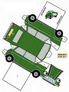 Paper Model Car, Paper Car, Paper Models, Paper Toys, Paper Crafts, London Theme Parties, Imprimibles Toy Story Gratis, Mini Morris, Mini Copper