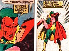 The Vision and the Scarlet Witch by Sal Buscema. Wanda recognizes that even though his body is synthetic,the Vision does indeed possess a soul.
