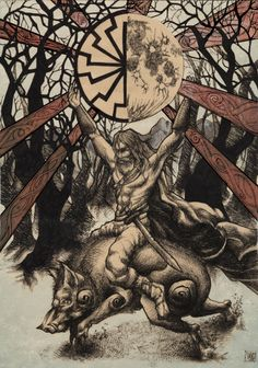 Freyr riding Gullinbursti, bringing the seeds of Spring.