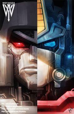 Transformers Optimus Prime and Megatron Split by Wizyakuza