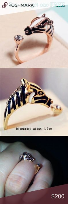 """Zebra horse head adjustable ring index finger -Material: gold Plated, rhinestone  -Size: (Approx.) 0.66"""" diameter   ***BUY 1 Get 1 FREE (equal or less value) - Price is firm except bundle - Bundle: 5% off (2 items), 10% off (3 items), 15% off (4 or more items) ***Please follow me for new listings. ***FREE SHIPPING.  Keyword to what I sell: sterling silver silver plated jewelry white and yellow gold filled earrings ring bracelet bangles necklace anklet brecelet baby small medium large huge…"""