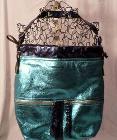 MIMS Aqua Foil Leather shoulder bag Train purse blue hobo purse
