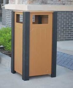 32 Gallon Ridgeview Recycled Plastic Trash Receptacle. 75 lbs. Made with various sized recycled plastic slats. Includes a UV protectant. Liner included. Surface and inground mounting kits available.
