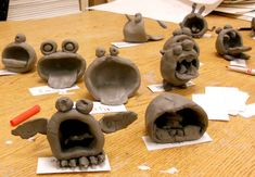 clay projects for elementary students | After the projects were bisqued, the students were then able to glaze ...