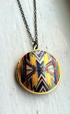 Sunburst Geometric Locket Necklace