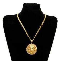 6e5c92c74 Mens Hip Hop Jewelry Iced Out Gold Color Fashion Bling Bling Lion Head  Pendant Men Necklace Gold Color For Gift/present
