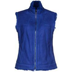 Dirk Bikkembergs Jacket (£474) ❤ liked on Polyvore featuring outerwear, jackets, blue, fur sleeveless jacket, blue turtleneck, turtleneck jacket, zip jacket and zipper jacket