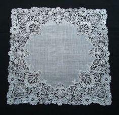 Antique Duchesse and Pointe de Gaze Lace Handkerchief c1880